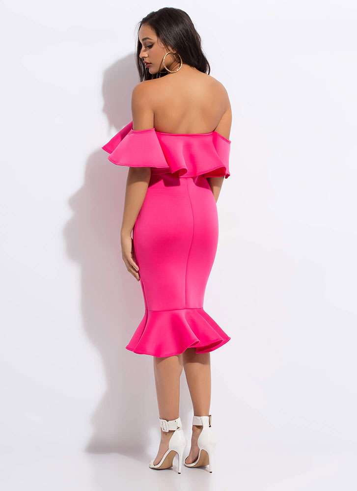 Evening Party Ruffled Off-Shoulder Dress FUCHSIA