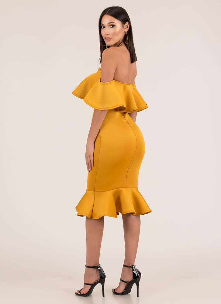 Evening Party Ruffled Off-Shoulder Dress MUSTARD