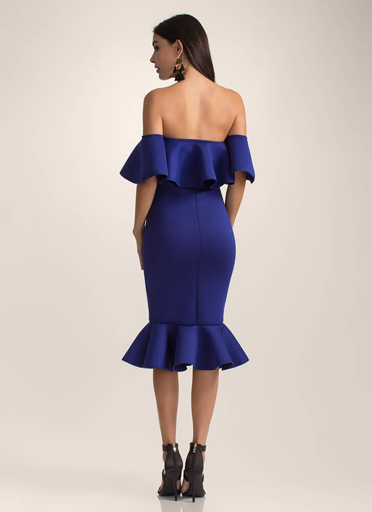 Evening Party Ruffled Off-Shoulder Dress ROYAL