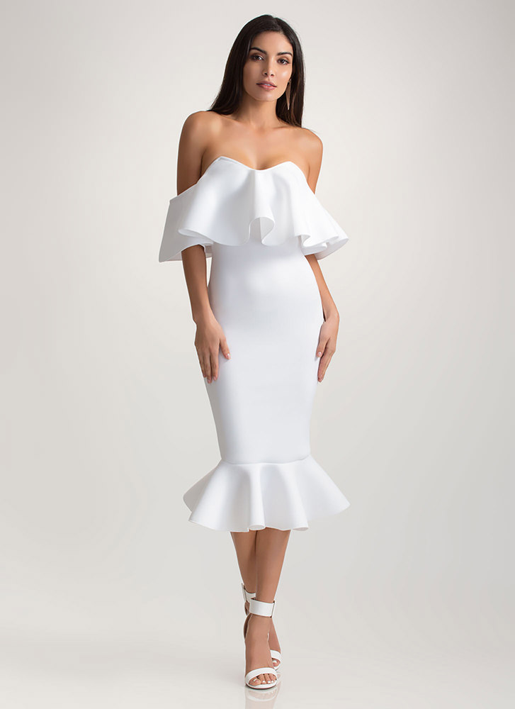 Evening Party Ruffled Off-Shoulder Dress WHITE