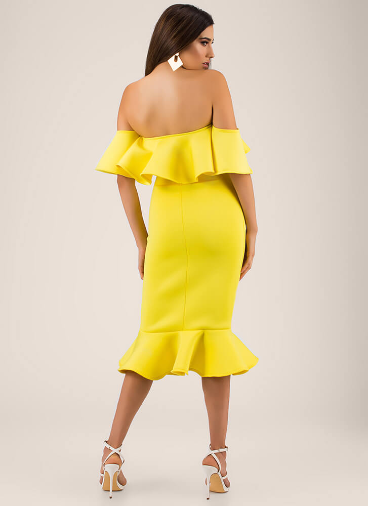 Evening Party Ruffled Off-Shoulder Dress YELLOW