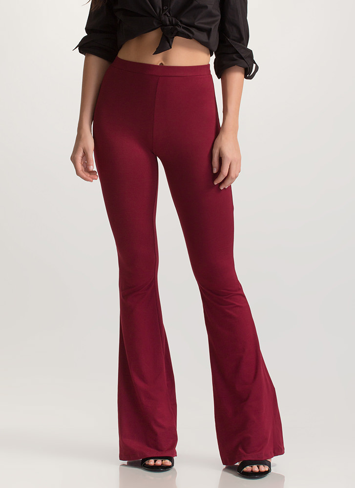 Flare Decision Knit Pants BURGUNDY