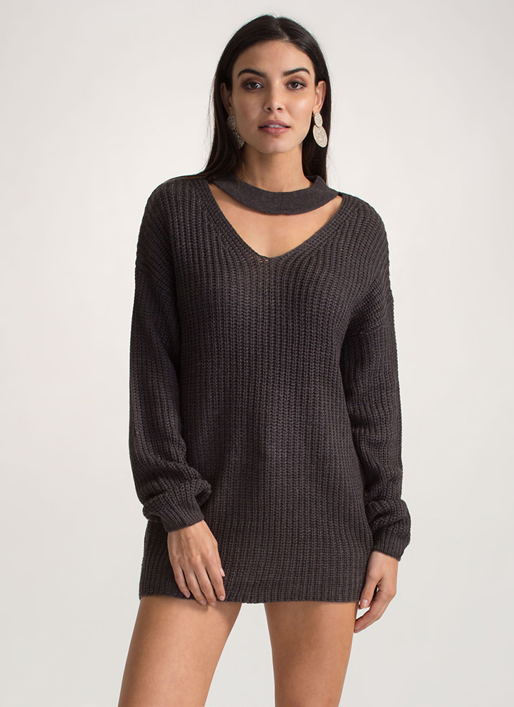 Cozy Up Oversized Choker Sweater CHARCOAL