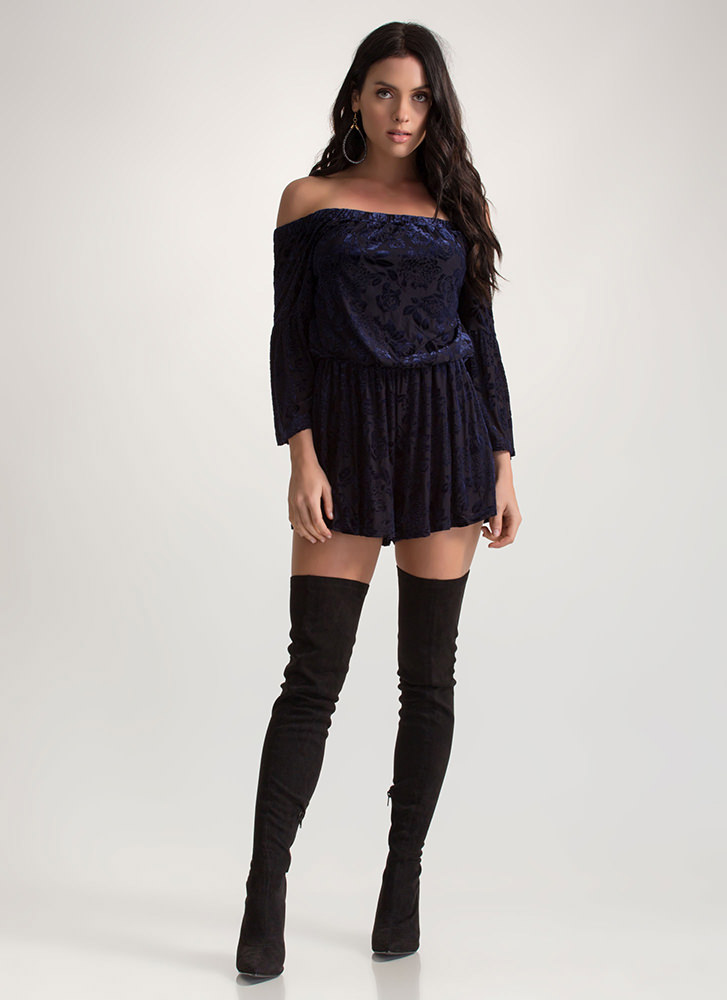 Fleur You Off-Shoulder Velvet Romper NAVY