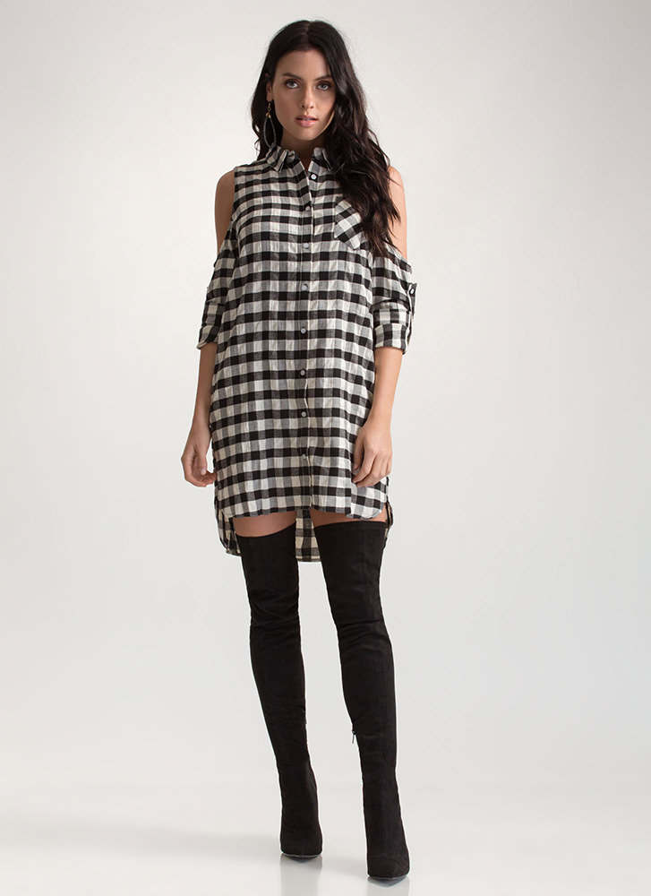 Check Please Cold Shoulder Shirt Dress BLACK