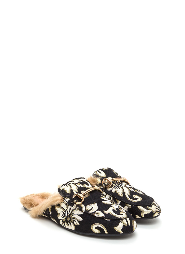 Furry Along Embroidered Mule Flats BLACKGOLD