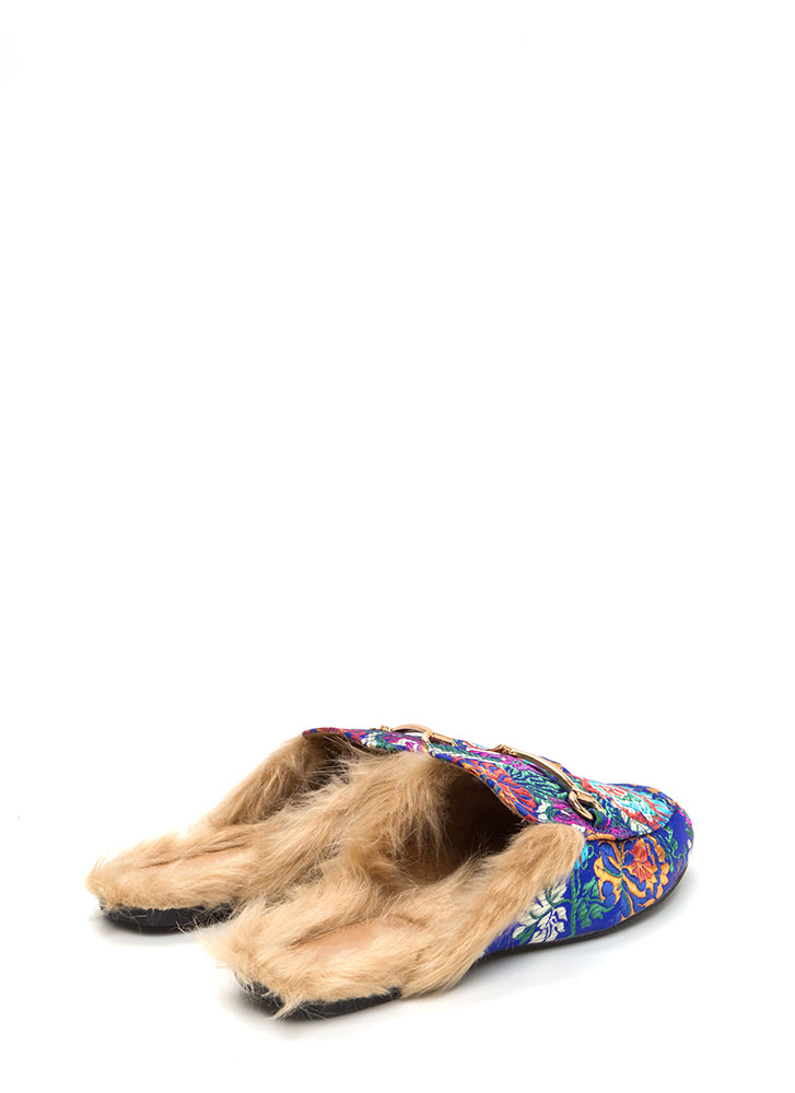 Furry Along Embroidered Mule Flats BLUE