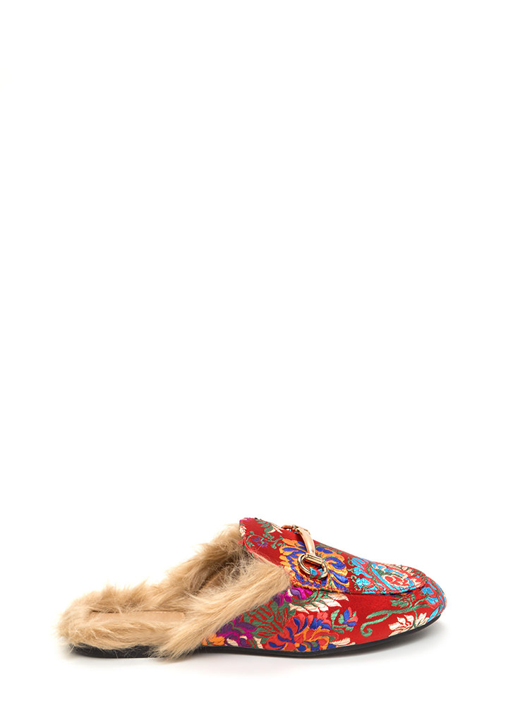 Furry Along Embroidered Mule Flats RED