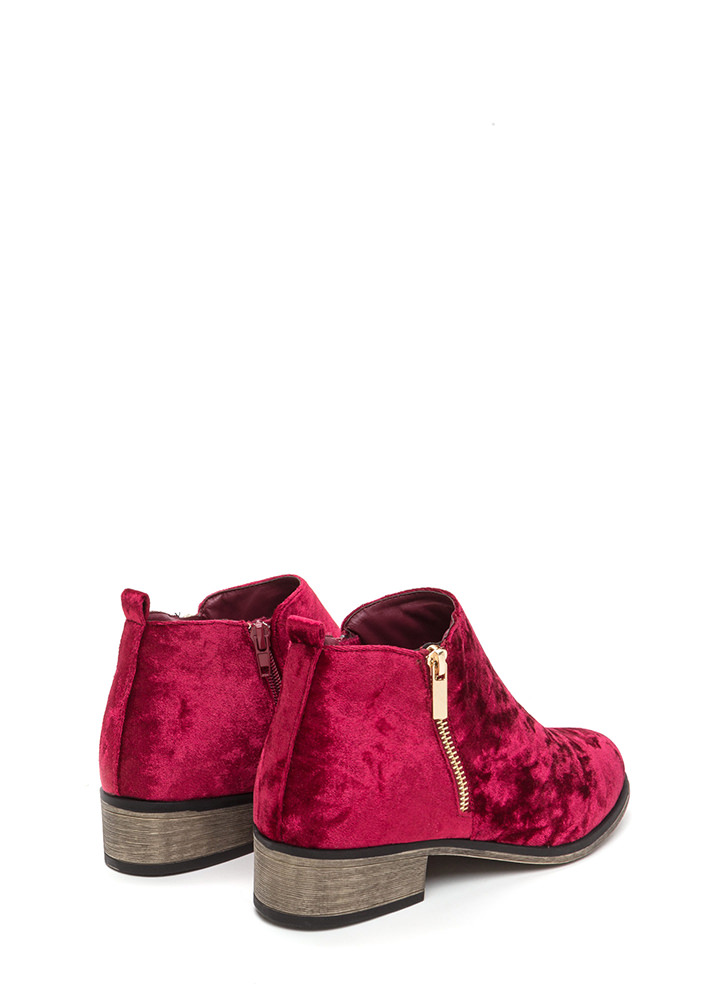That's Zip Velvet Block Booties BURGUNDY