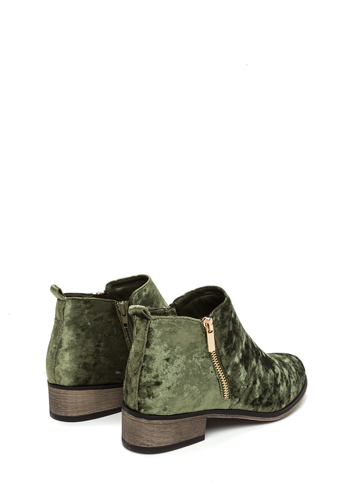 That's Zip Velvet Block Booties GREEN