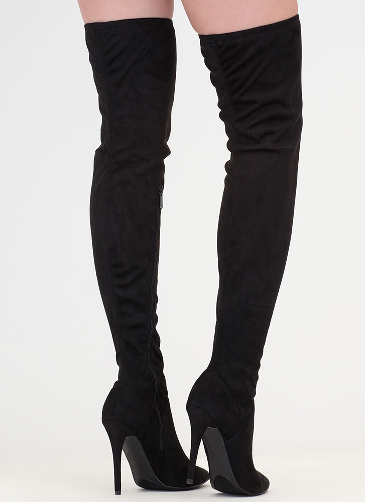 High Point Faux Suede Thigh-High Boots BLACK