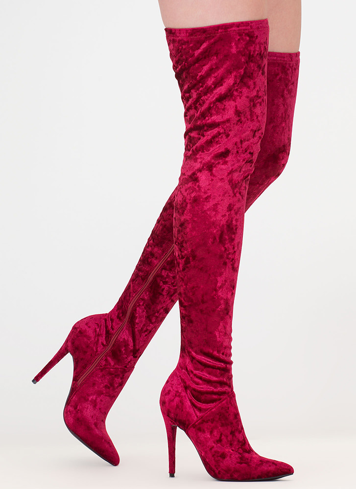 High Point Velvet Thigh-High Boots BURGUNDY