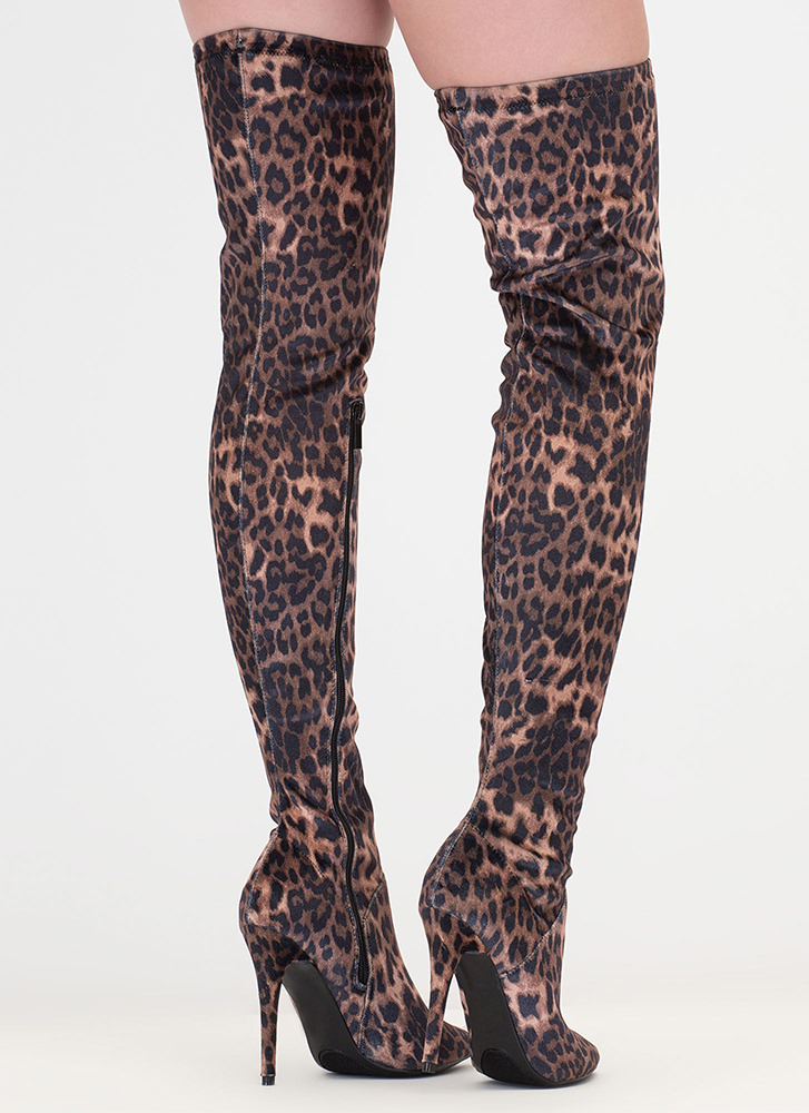 High Point Leopard Thigh-High Boots LEOPARD