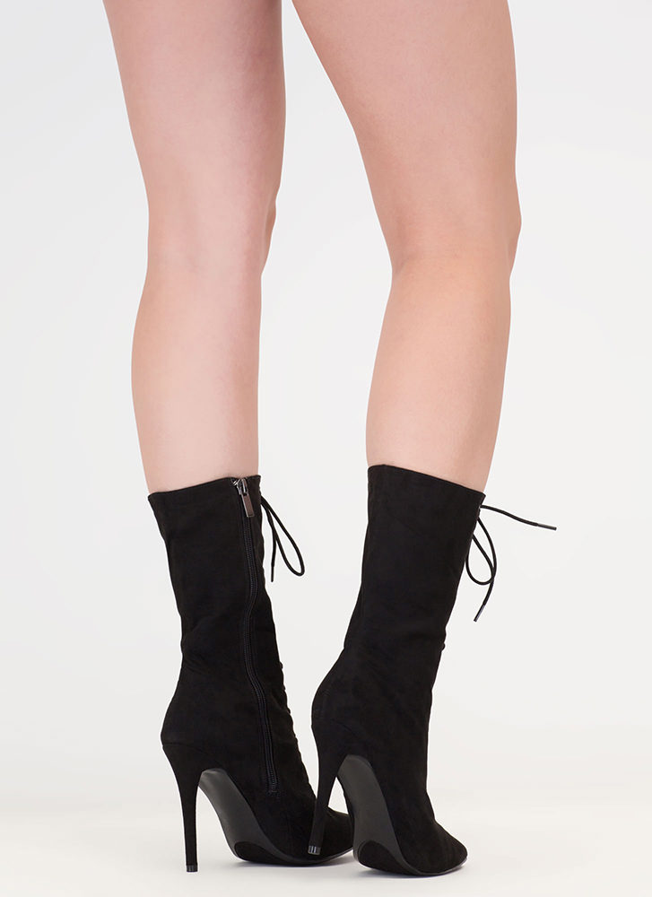 High Point Lace-Up Faux Suede Booties BLACK