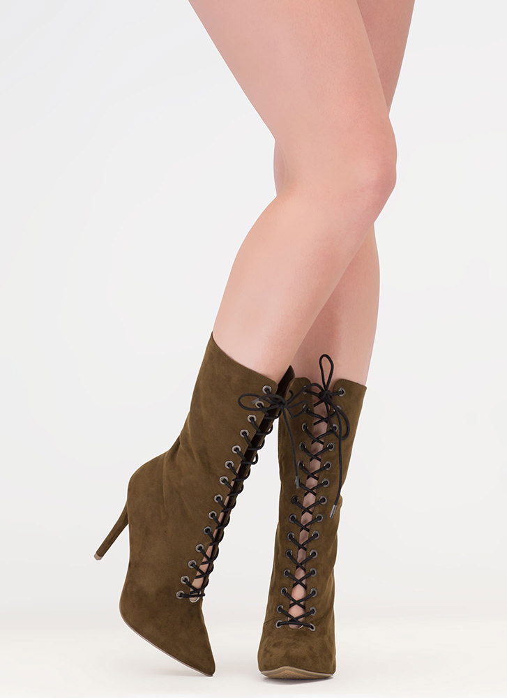 High Point Lace-Up Faux Suede Booties OLIVE