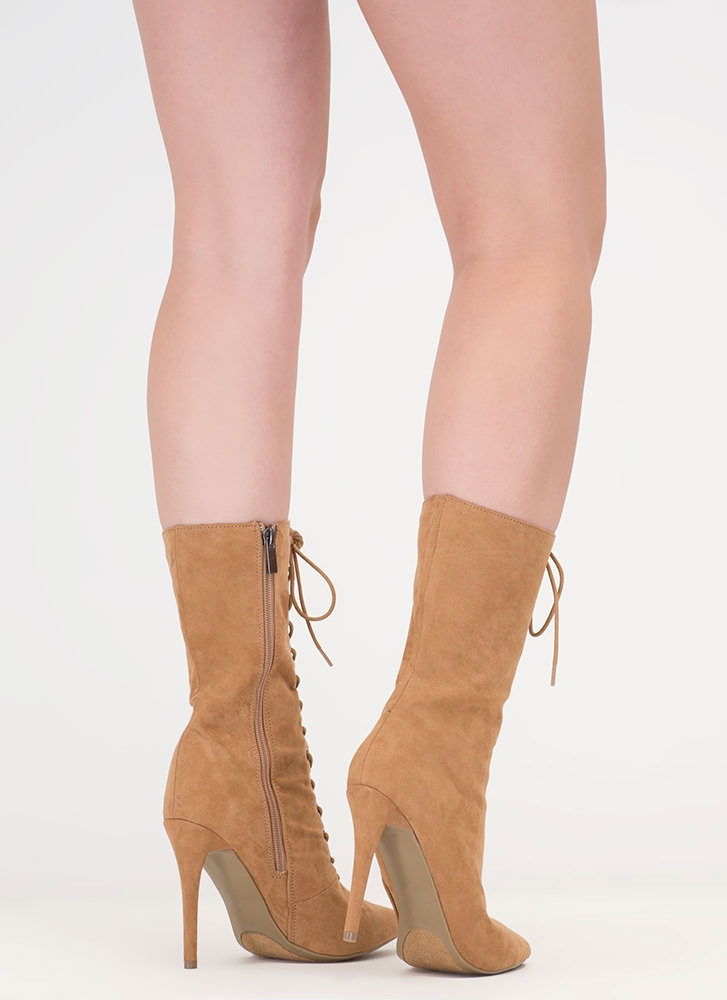High Point Lace-Up Faux Suede Booties TAN