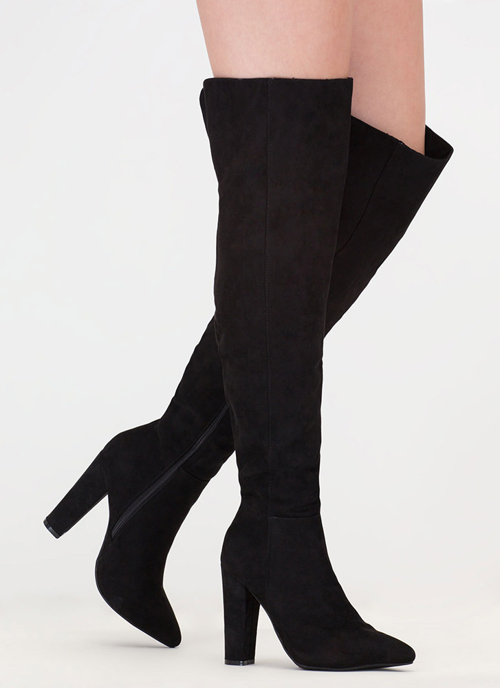 Point Up Faux Suede Thigh-High Boots BLACK