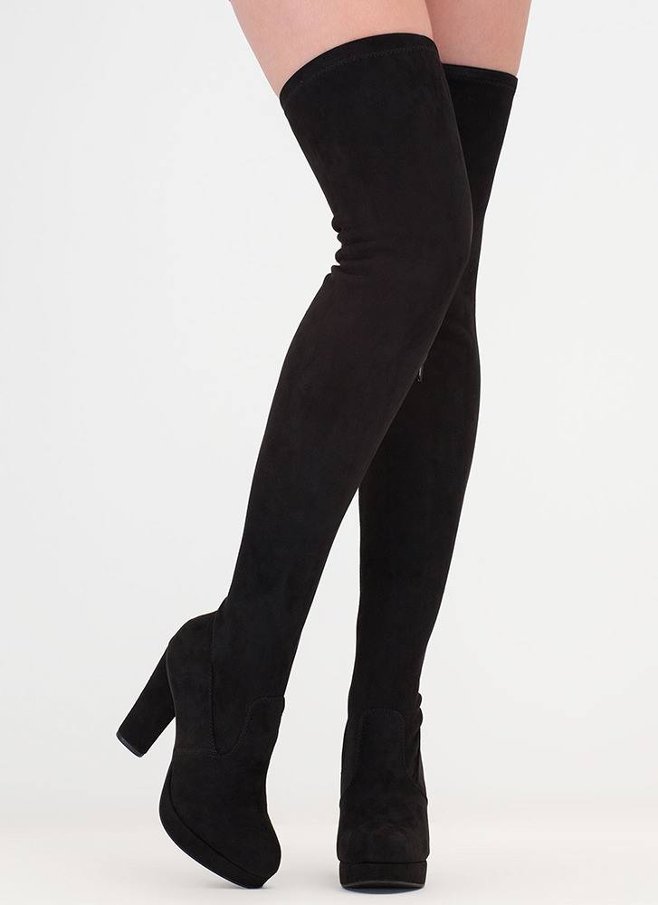 Easy Answer Platform Thigh-High Boots BLACK