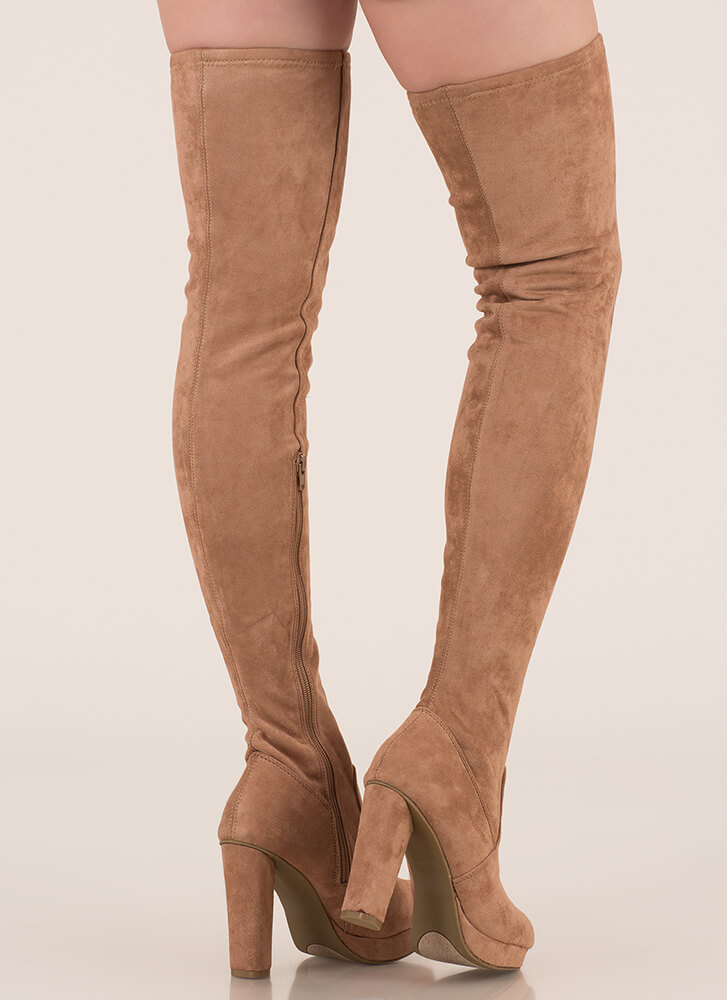 Easy Answer Platform Thigh-High Boots CAMEL