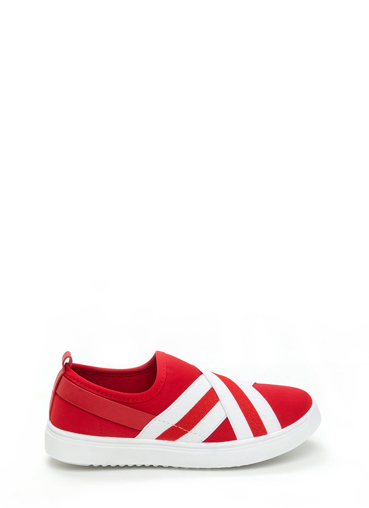Crossover Act Banded Platform Sneakers RED