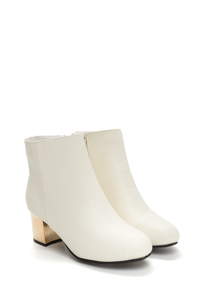 One Block Away Faux Leather Booties WHITE