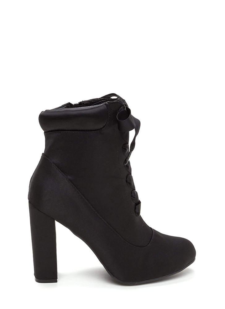 Laces Wild Chunky Satin Booties BLACK