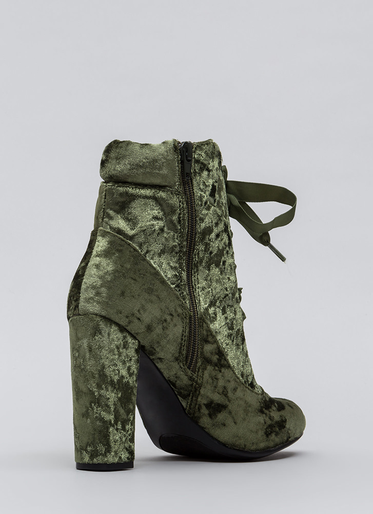 Laces Wild Chunky Velvet Booties GREEN