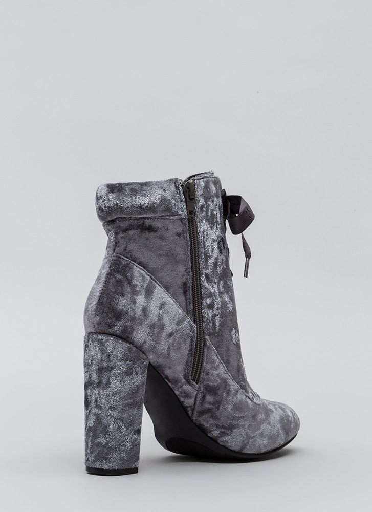 Laces Wild Chunky Velvet Booties GREY