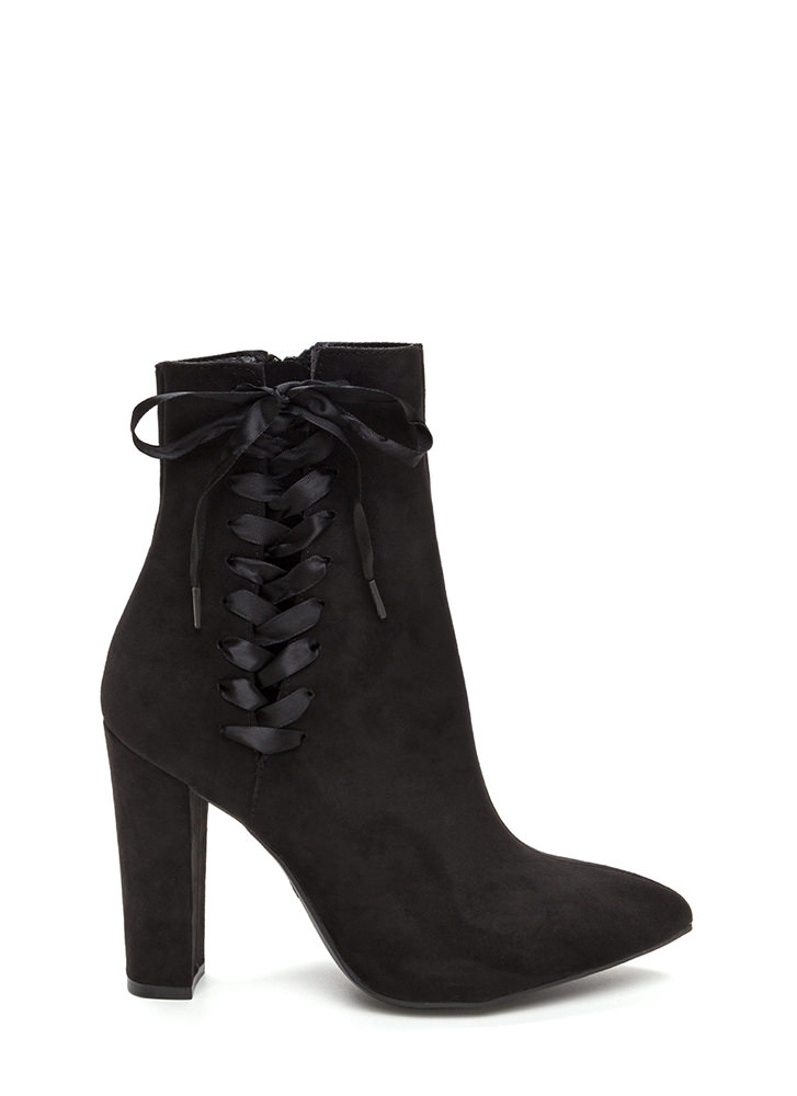 Besides The Point Laced Chunky Booties BLACK