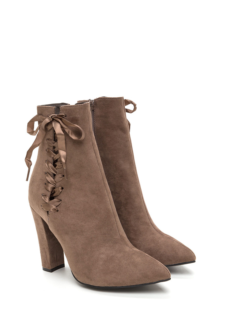 Besides The Point Laced Chunky Booties TAUPE
