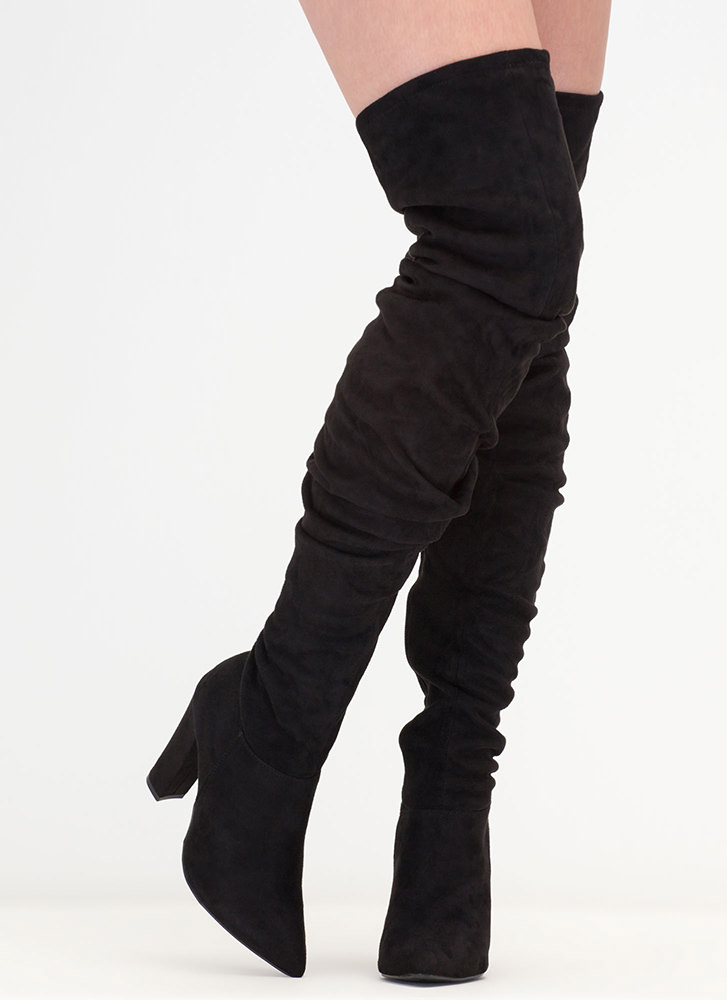 Slouch Forward Thigh-High Boots BLACK