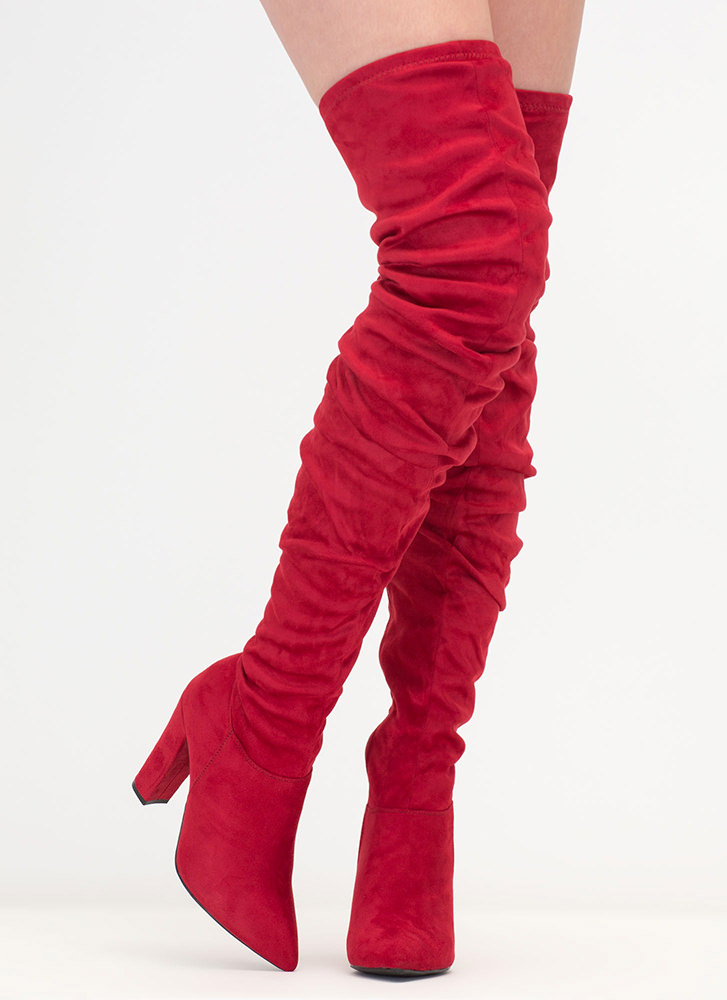Slouch Forward Thigh-High Boots RED