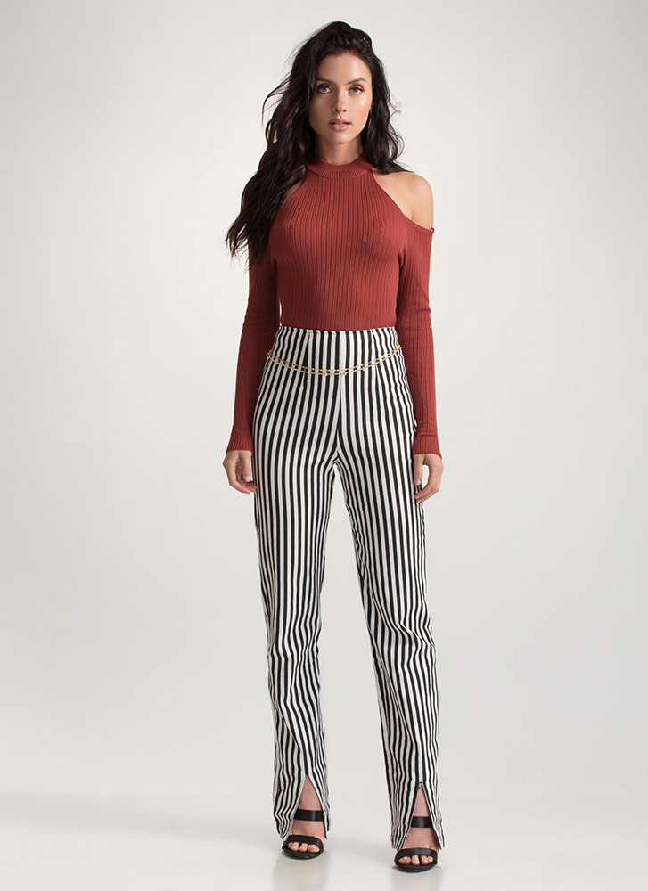 Stripe Dream Straight Slit Pants BLACKWHITE