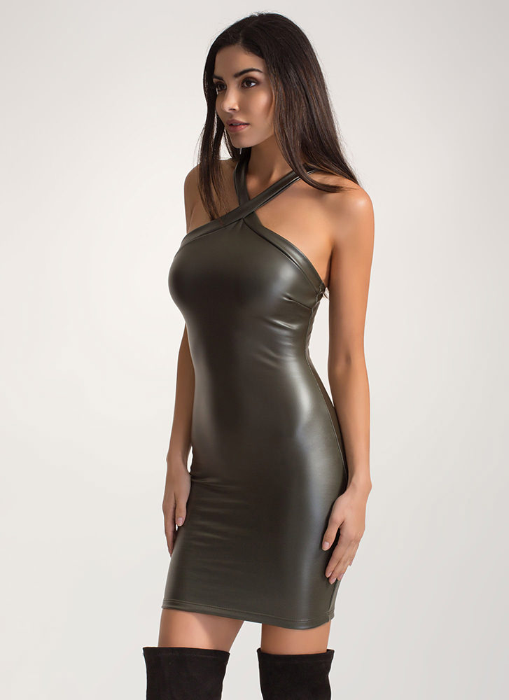 X Appeal Strappy Faux Leather Dress OLIVE