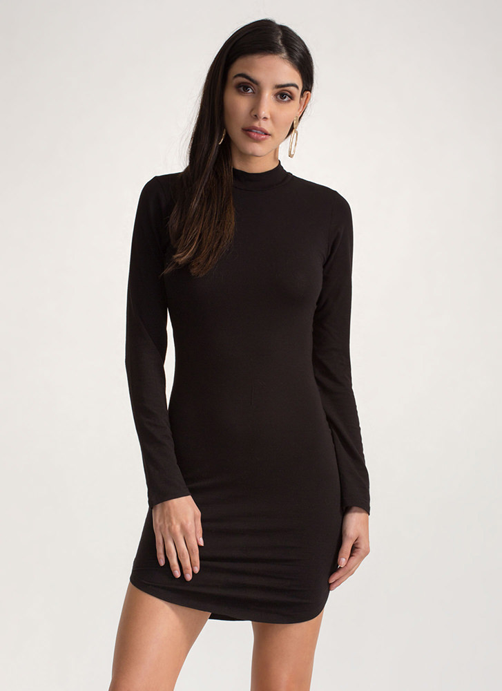 Laced All Night Mockneck Mini Dress BLACK