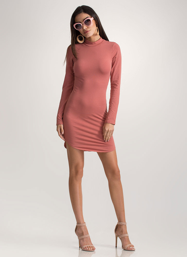 Laced All Night Mockneck Mini Dress MARSALA