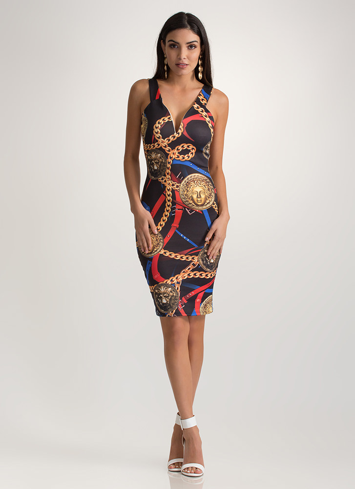 Mane Event Chain And Coin Print Dress BLACKRED