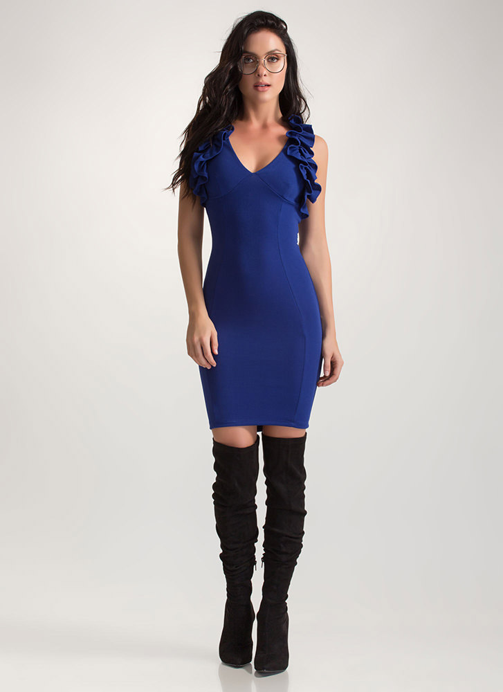 Frill Seeking Bodycon Mini Dress ROYAL
