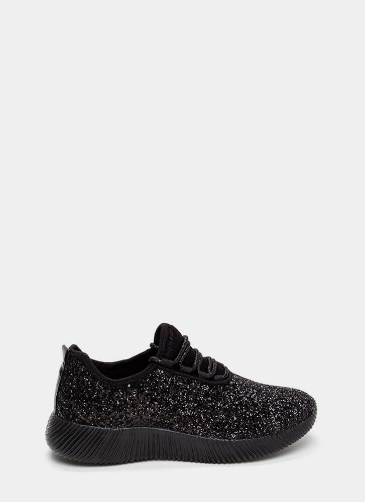 Sneak In The Sparkle Platform Sneakers BLACK