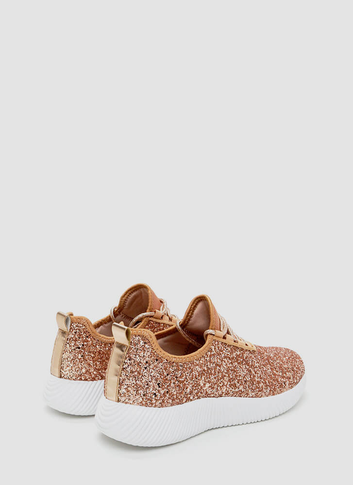 Sneak In The Sparkle Platform Sneakers ROSEGOLD