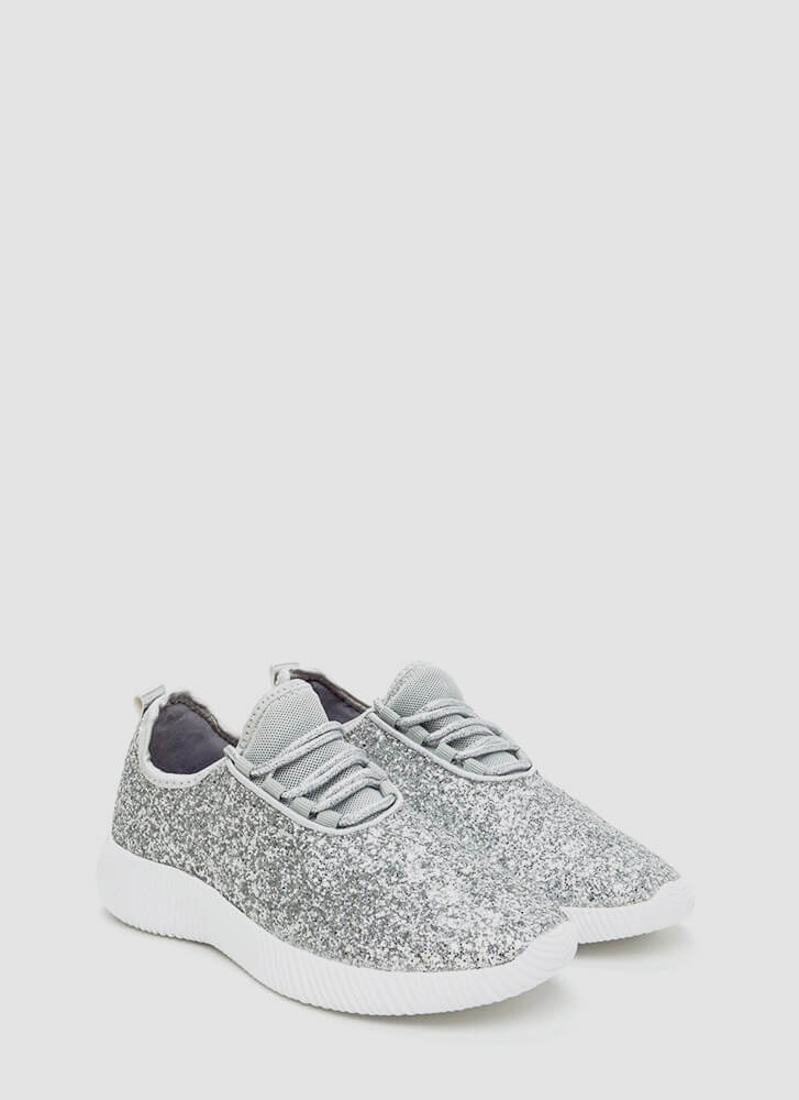 Sneak In The Sparkle Platform Sneakers SILVER