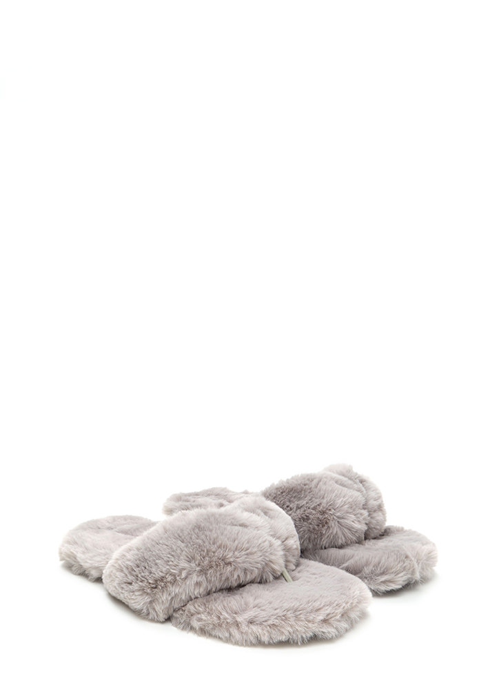Soft Landing Faux Fur Thong Sandals LTGREY