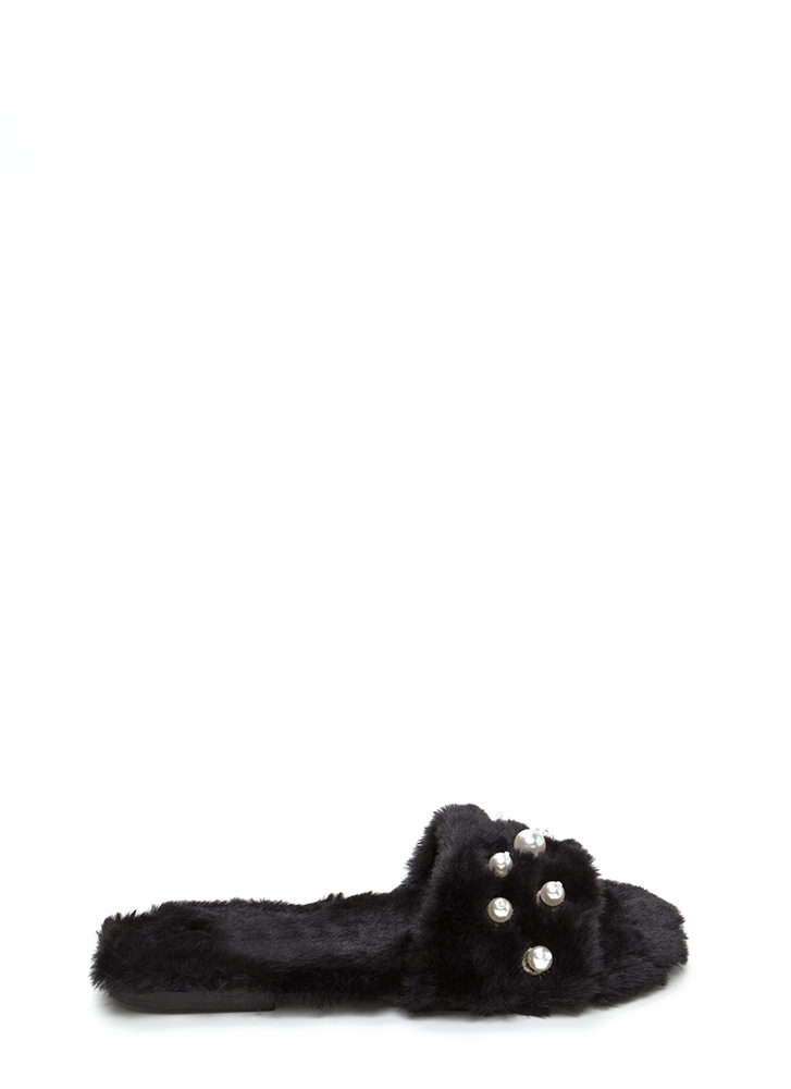 Soft Landing Faux Fur Slide Sandals BLACK