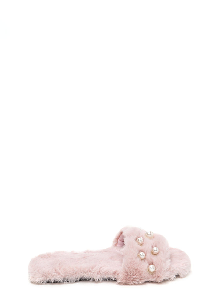 Soft Landing Faux Fur Slide Sandals BLUSH