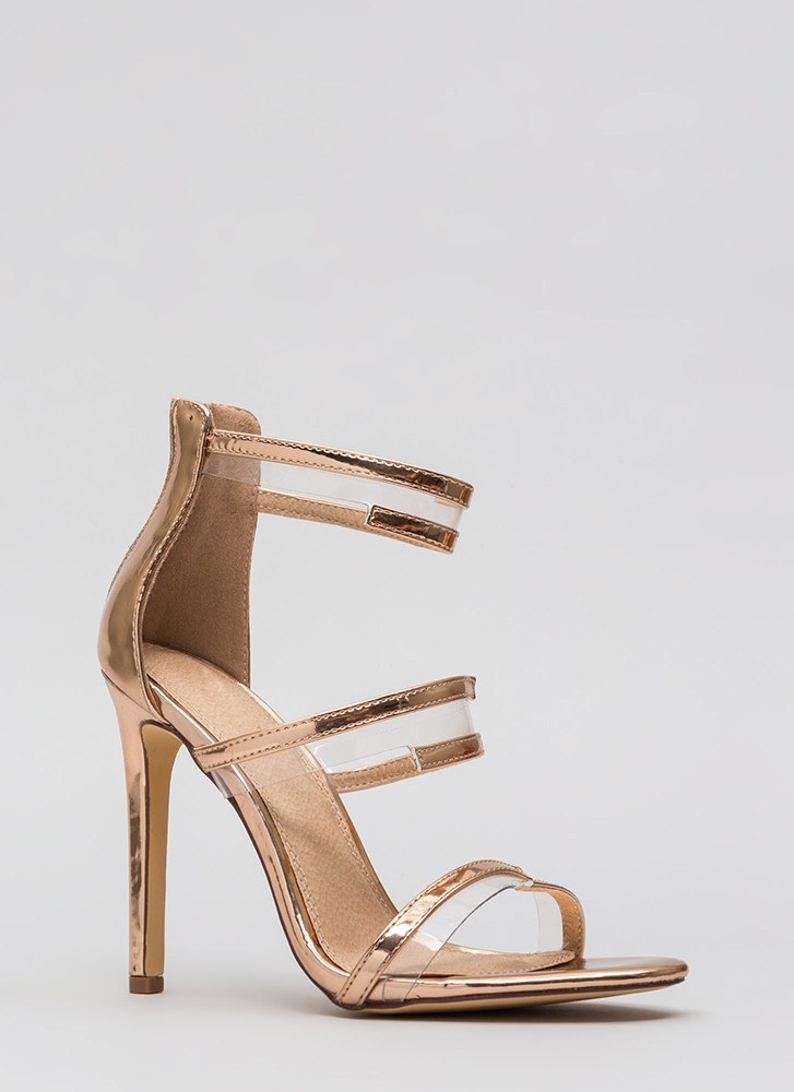 Wrapped In Straps Faux Patent Heels ROSEGOLD