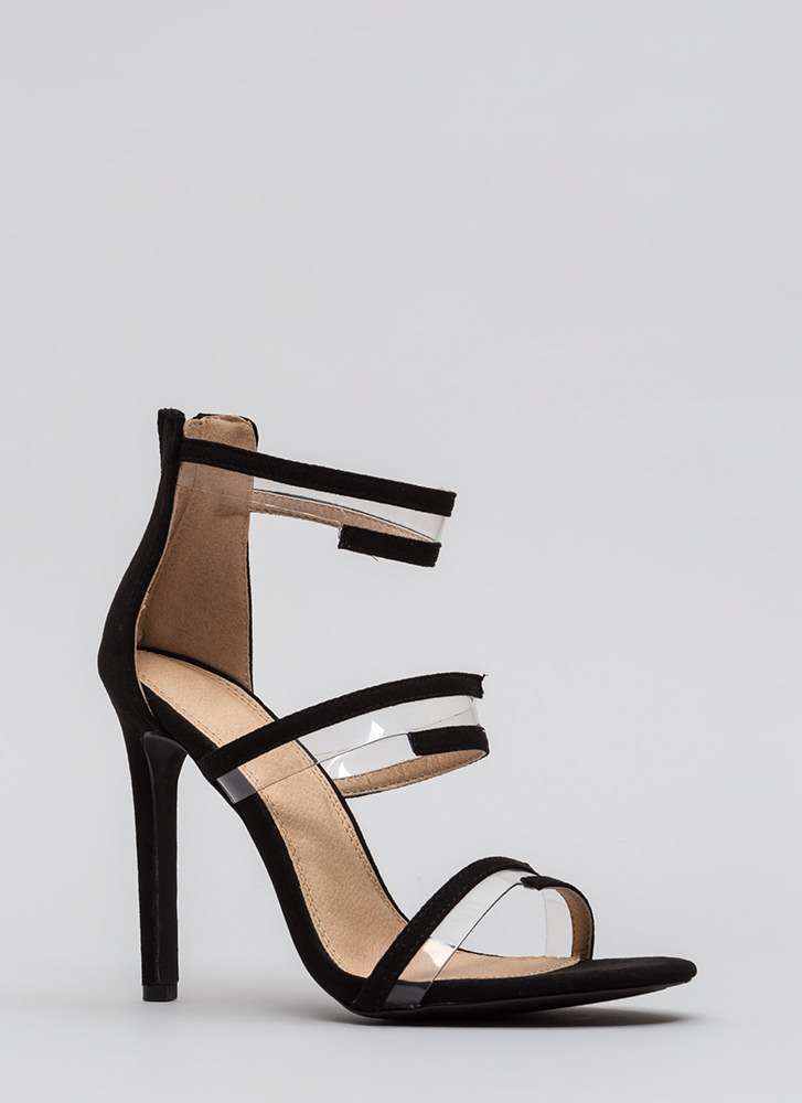 Wrapped In Straps Faux Suede Heels BLACK