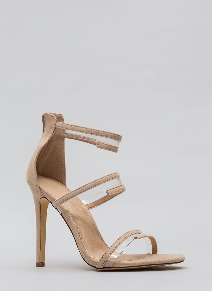 Wrapped In Straps Faux Suede Heels NUDE