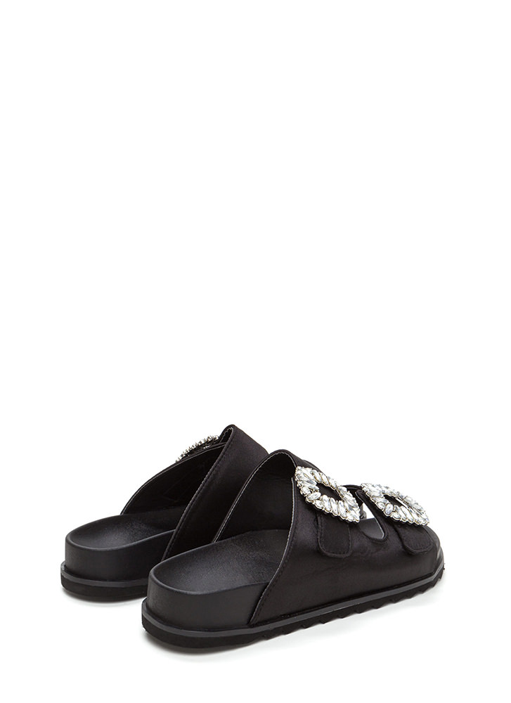 Fancy That Jeweled Slide Sandals BLACK