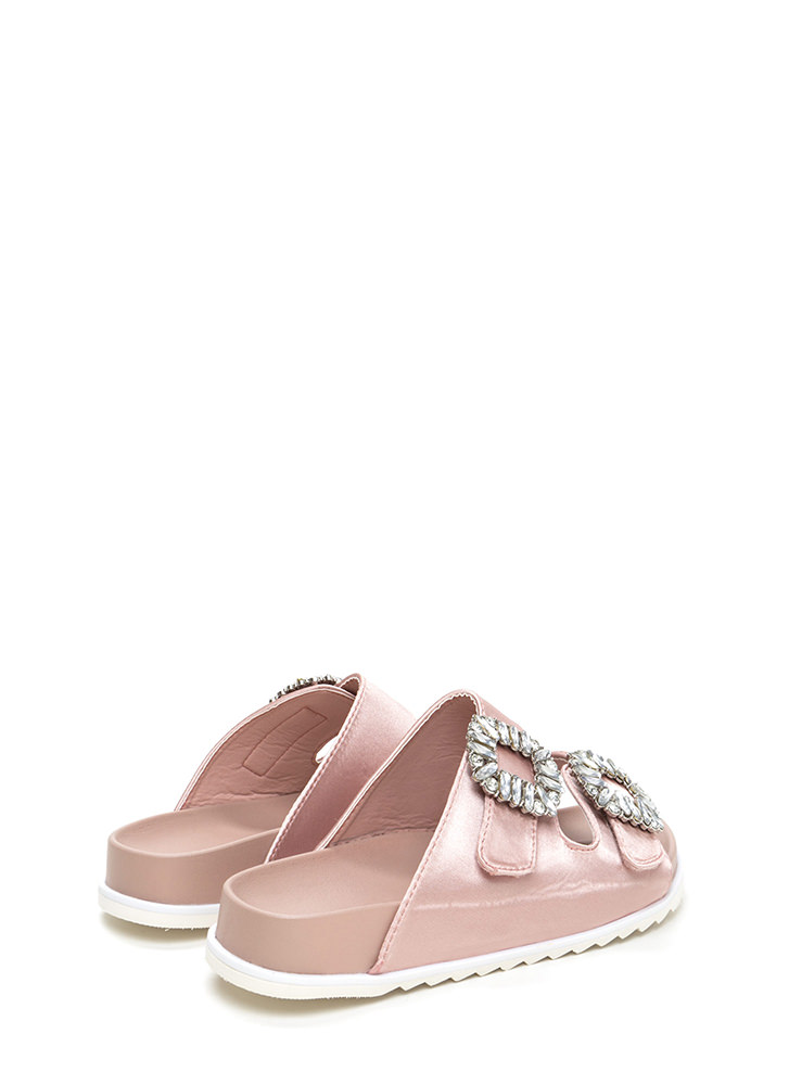 Fancy That Jeweled Slide Sandals DUSTYPINK