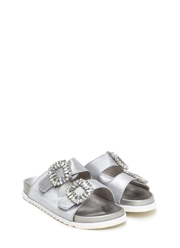 Fancy That Jeweled Slide Sandals GREY